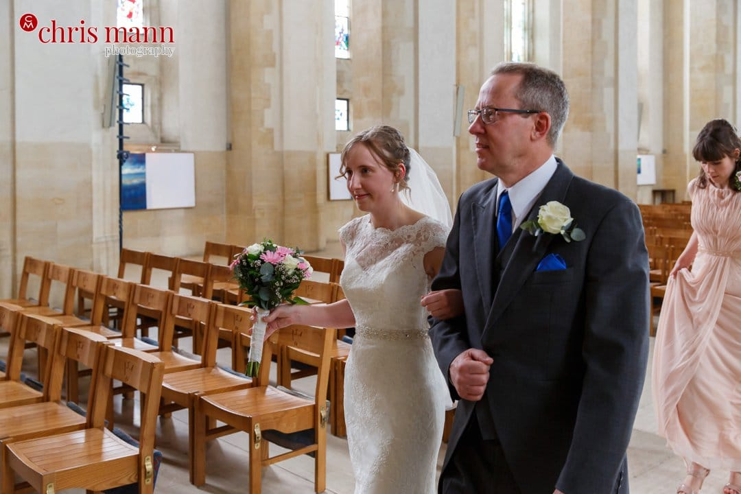 bride and father nave Guildford Cathedral