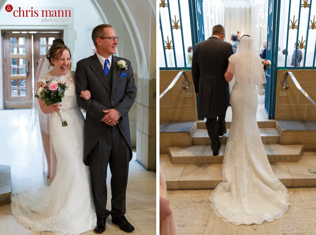 bride and father enter Lady Chapel Guildford Cathedral