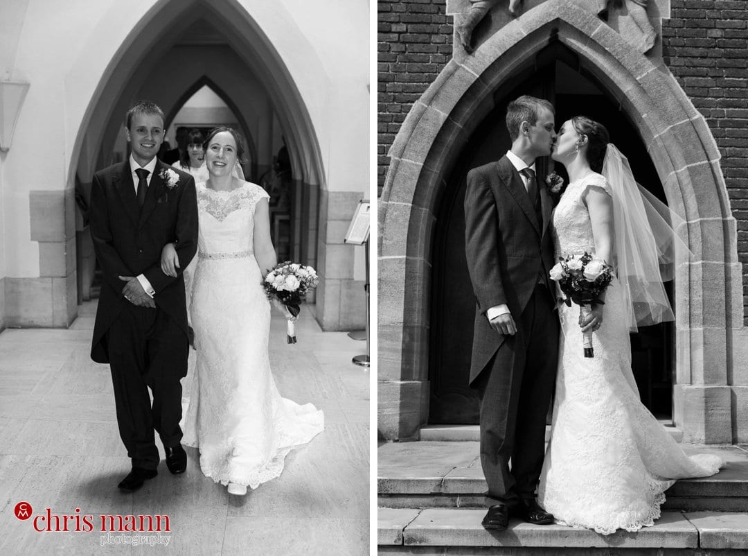 bride and groom kiss south door Guildford Cathedral