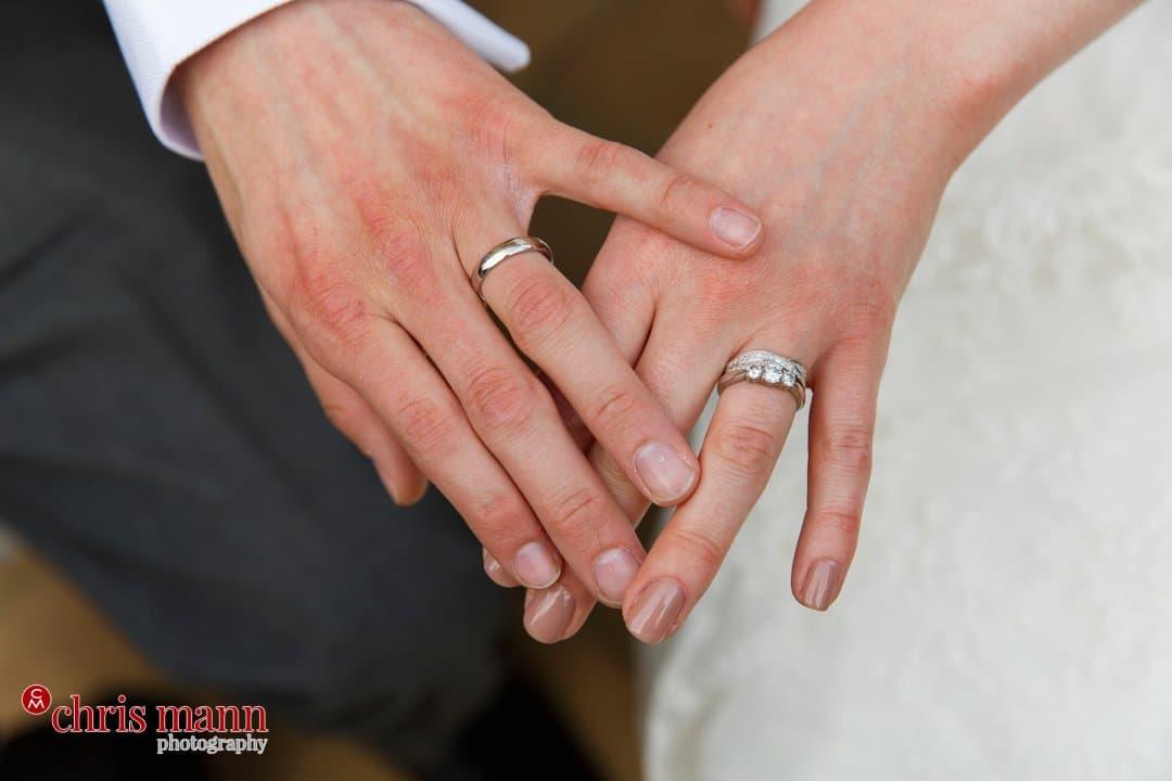 bride and groom hands closeup rings