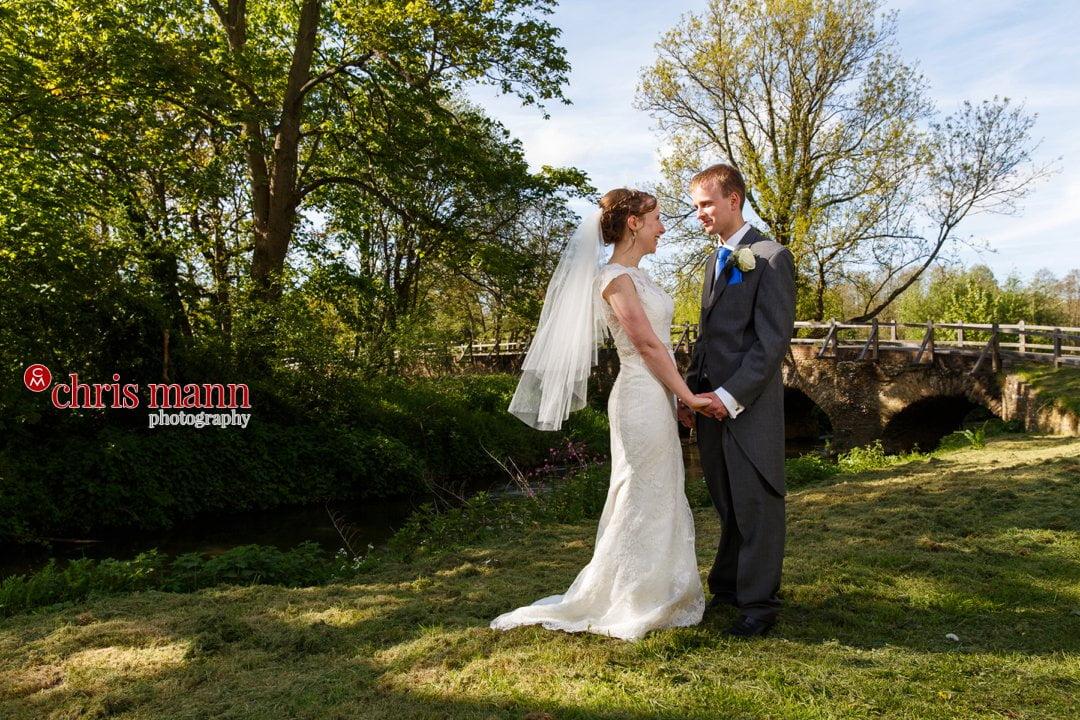 bride and groom wedding photo Eashing Bridges Surrey
