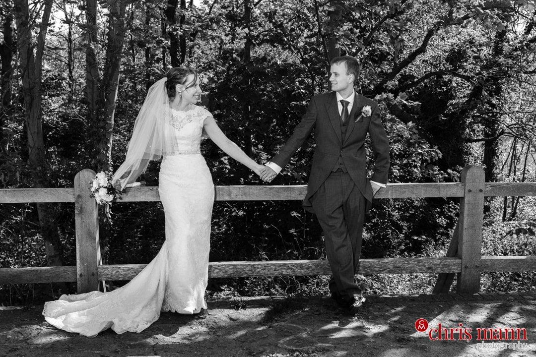 bride and groom wedding photo Eashing Bridges Surrey black and white