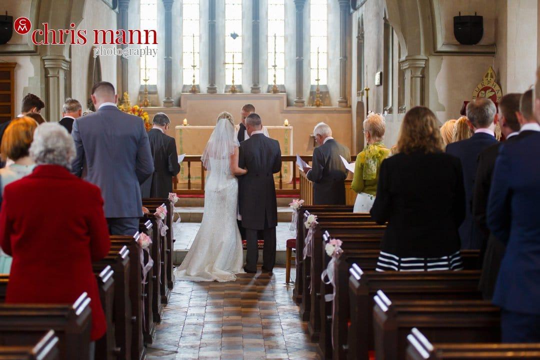 bride and groom wedding t Luke's Church Burpham Guildford Surrey