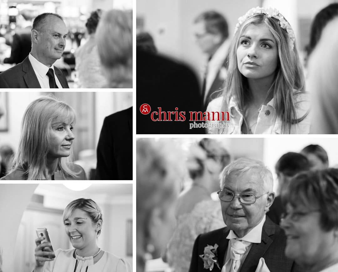 wedding guests reception black and white photo