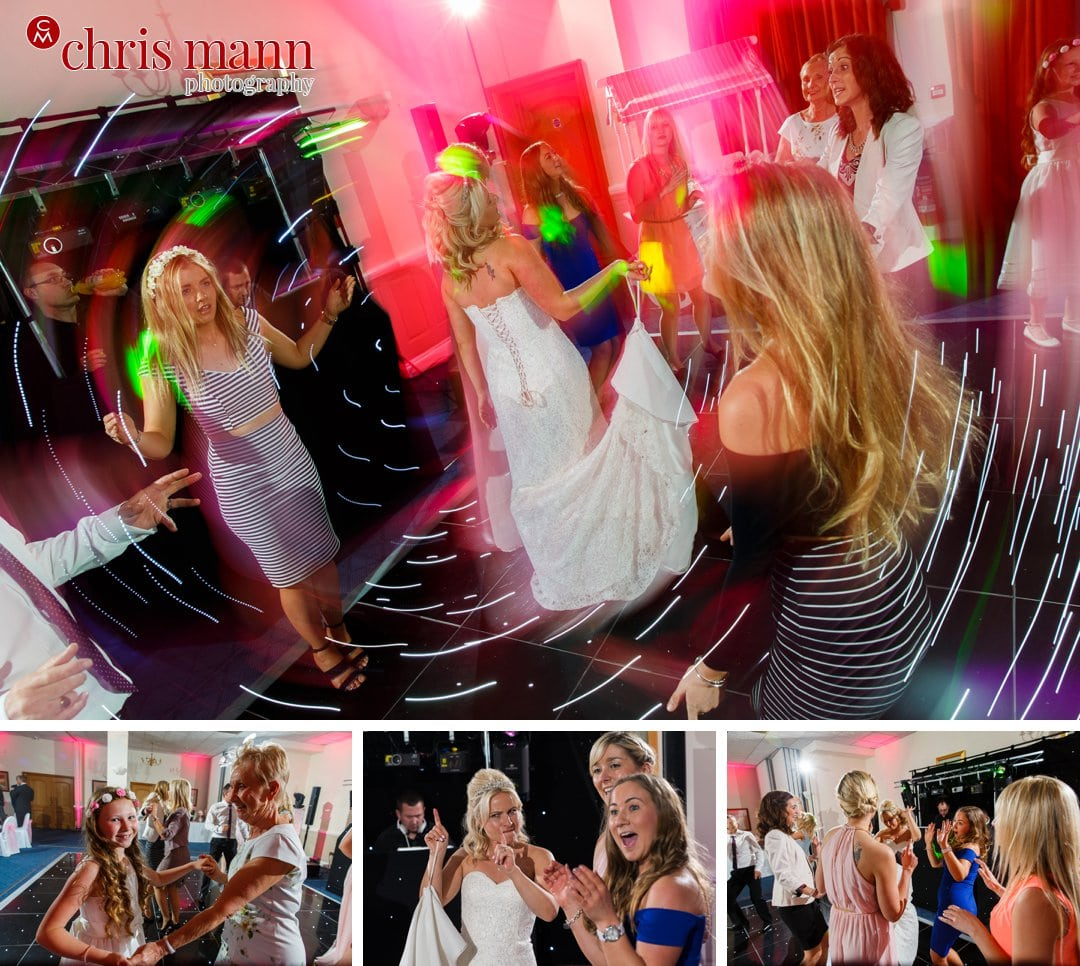 wedding guests dancing bride and groom first dance Manor House Hotel Guildford