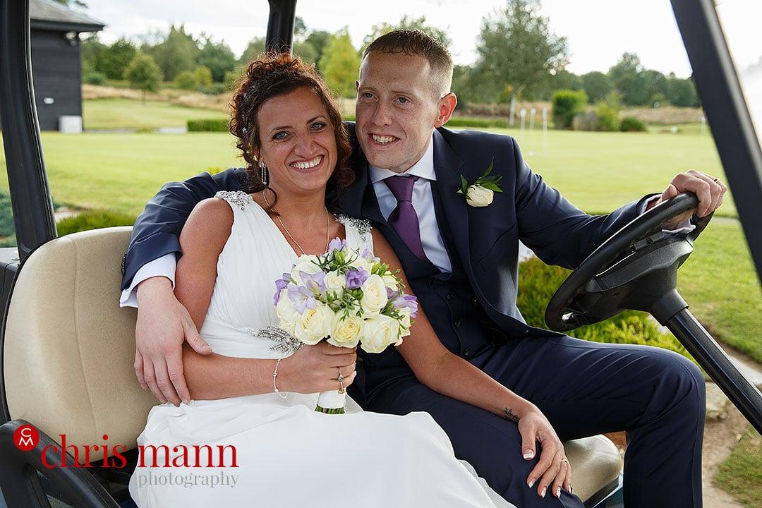 surrey downs golf club wedding couple in golf cart