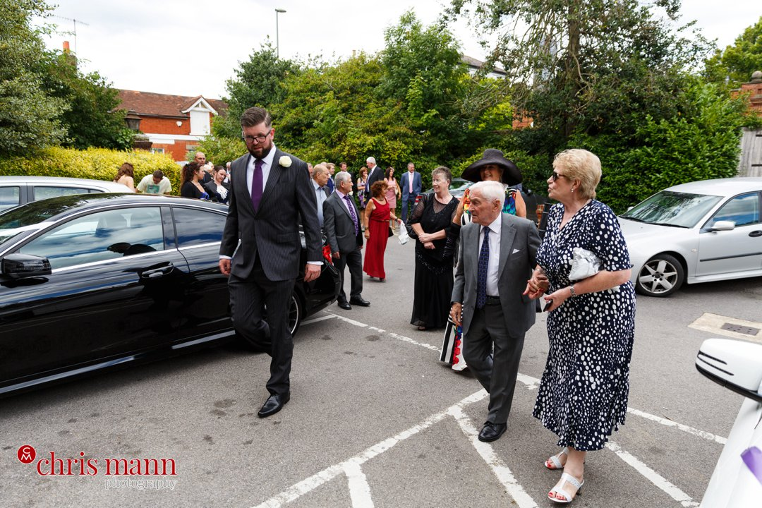 wedding guests arriving Leatherhead register office