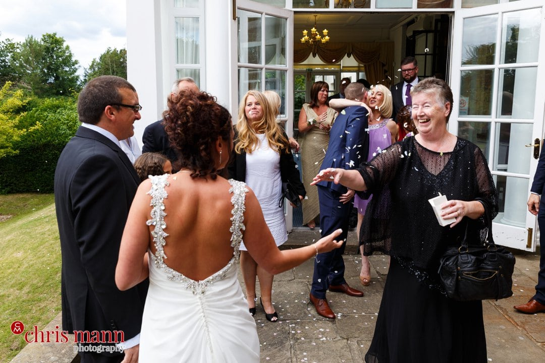 confetti toss outside Leatherhead register office