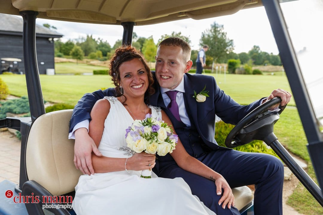 bride and groom on golf cart Surrey Downs Golf Club Kingswood