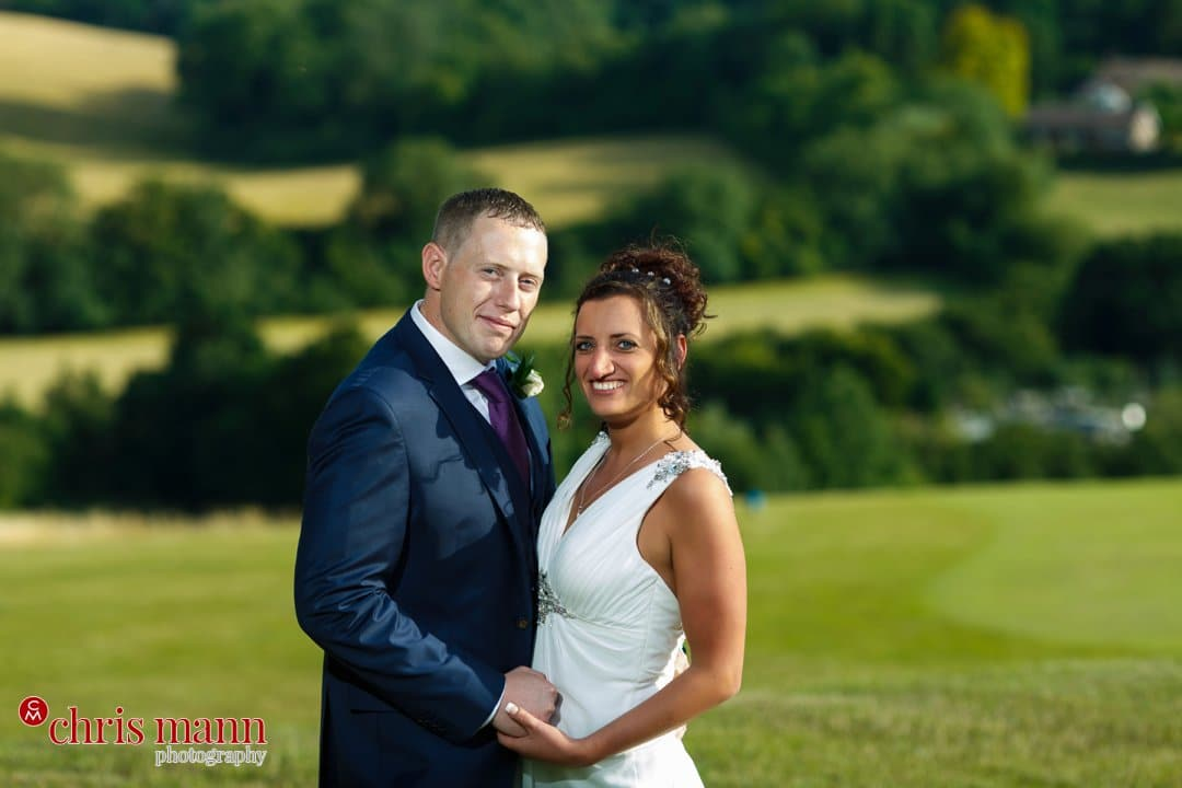 bride and groom portrait Surrey Downs Golf Club Kingswood