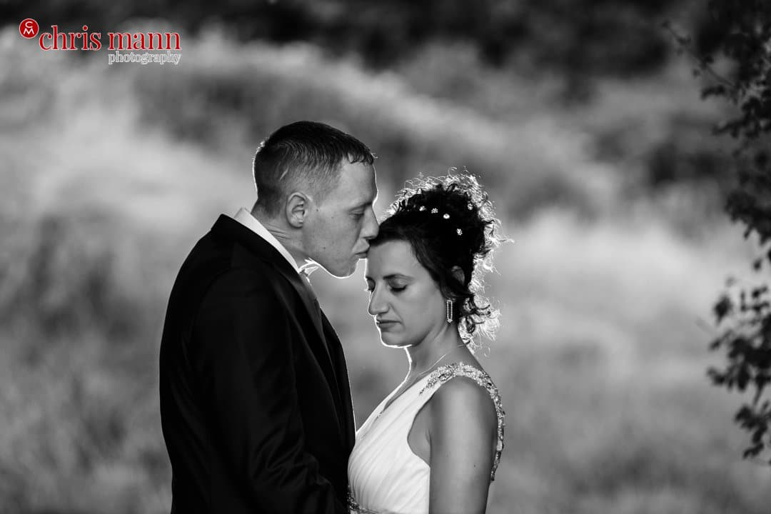 bride and groom portrait Surrey Downs Golf Club Kingswood black and white photo