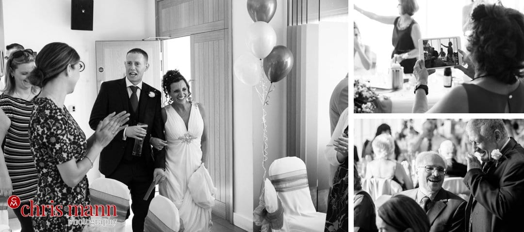 bride and groom enter wedding reception bride and groom portrait Surrey Downs Golf Club Kingswood
