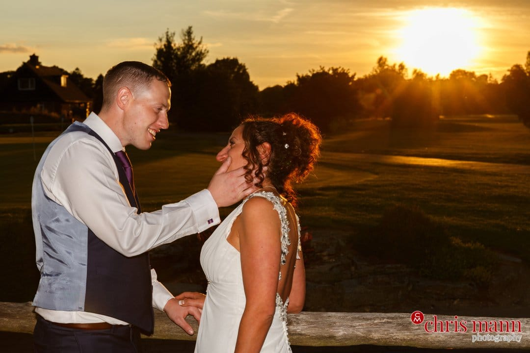 sunset photo bride and groom Surrey Downs Golf Club