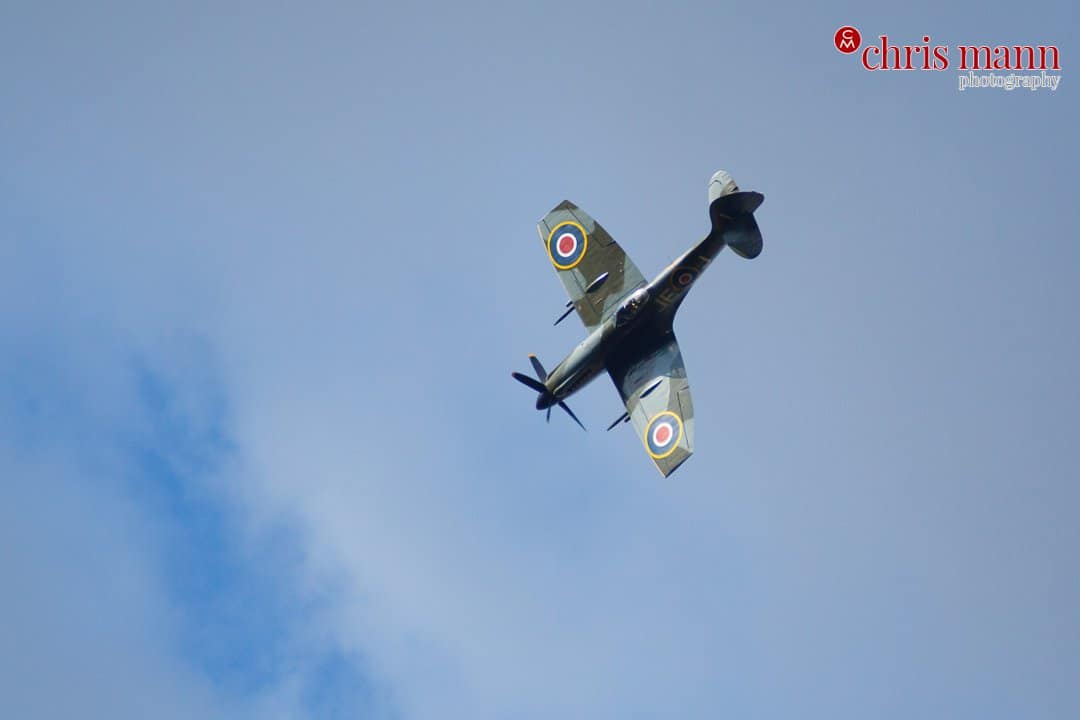 Spitfire Mk XIV aerobatic display at wedding in Hampshire
