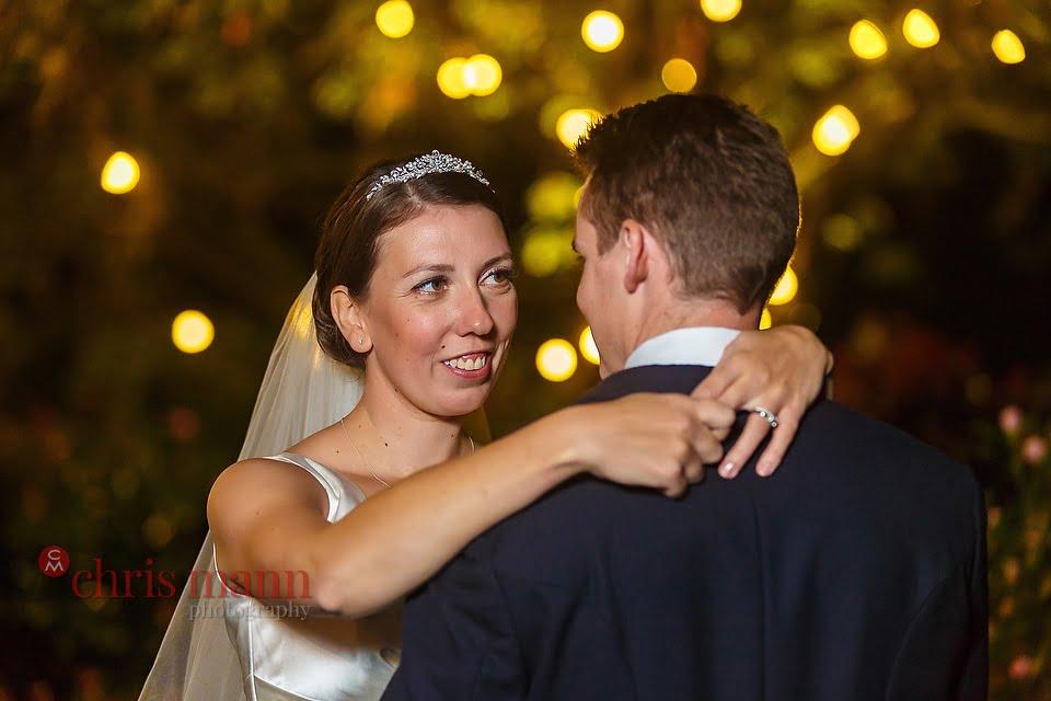 Hampshire wedding photos bride and groom in garden at night