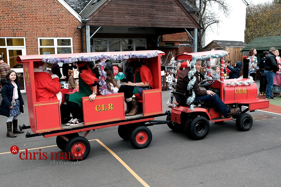 Santa arrives at the 2015 Wonersh and Shamley Green Primary School Xmas Fair