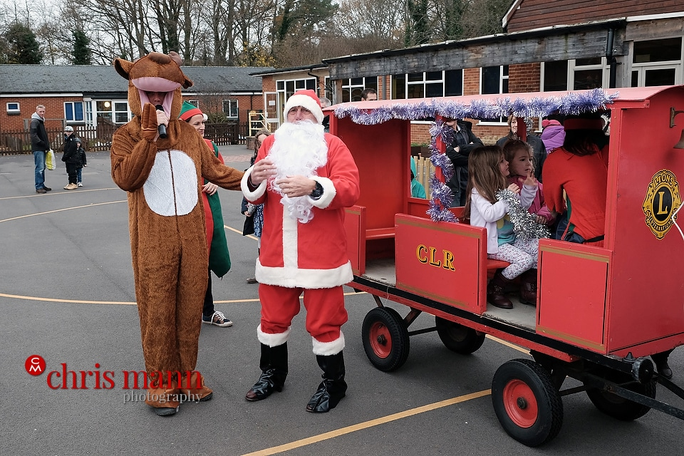 Santa interviewed by Rudolph the Reindeer Wonersh and Shamley Green Primary School Xmas Fair 2015