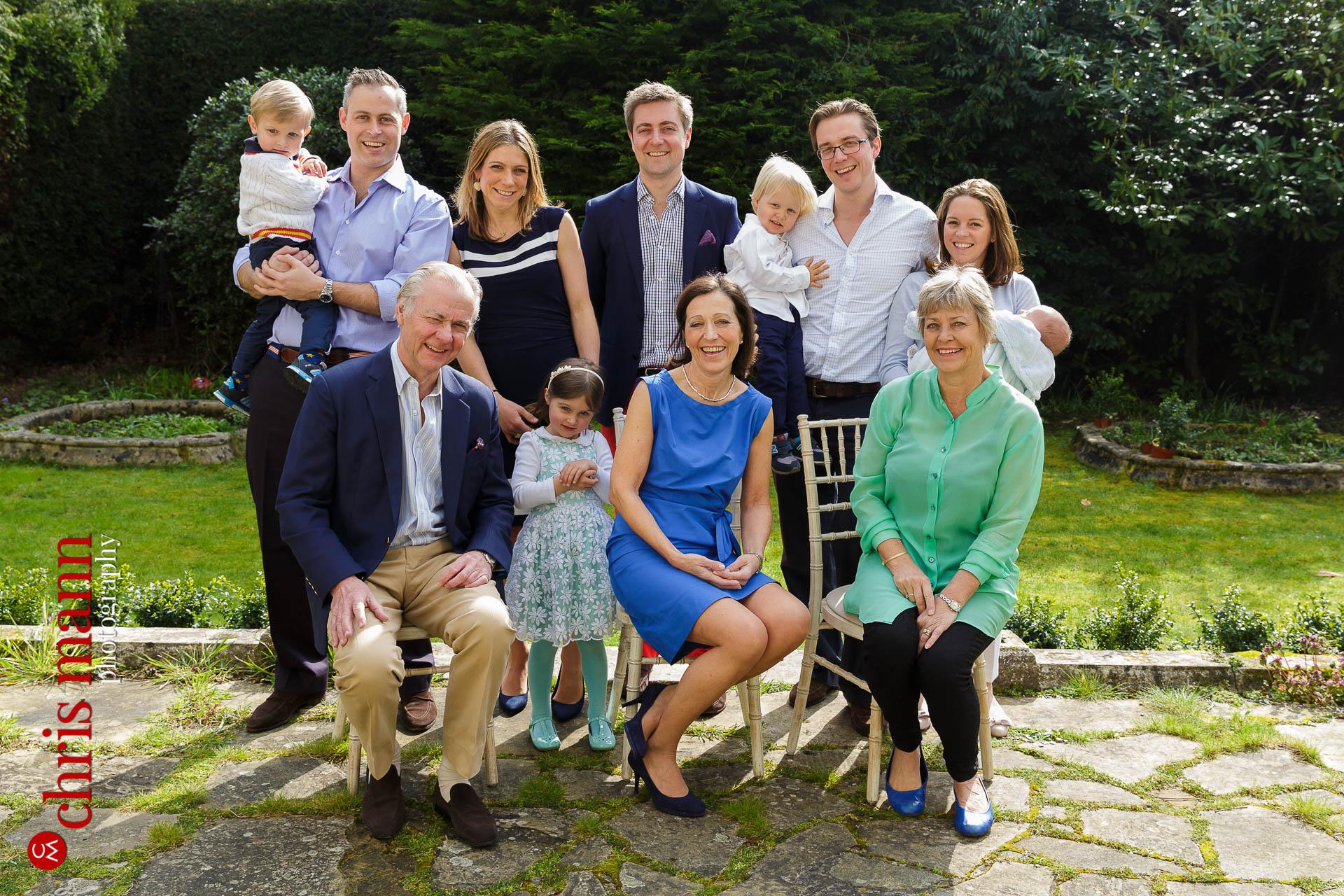 family group photo in garden