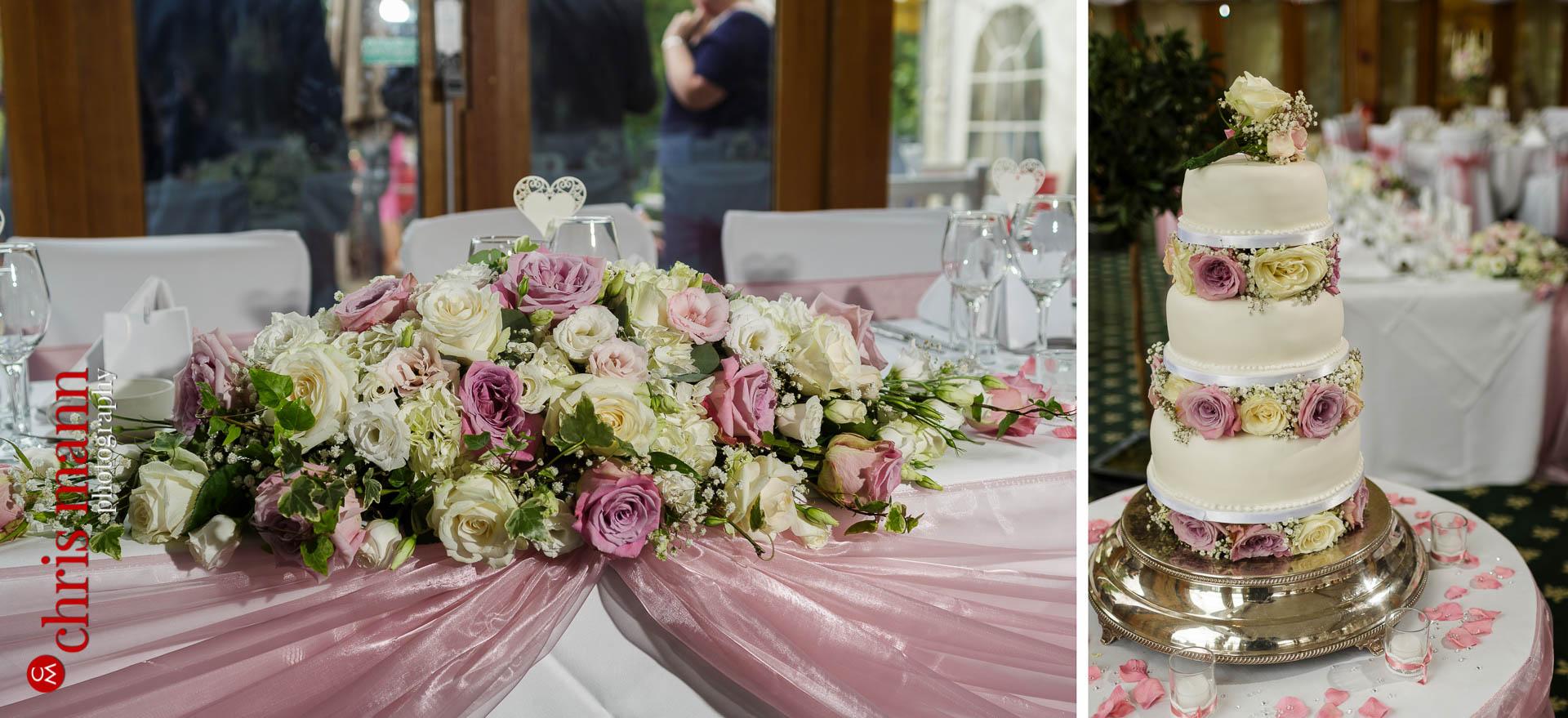 Brocket Hall wedding cake and flowers