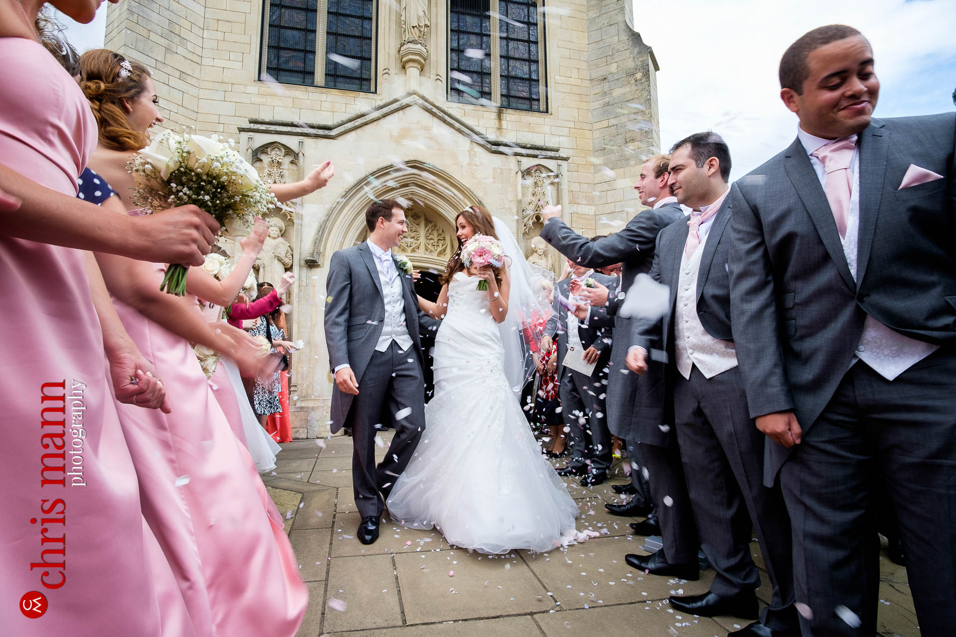 Confetti toss at Our Lady of Lourdes church Harpenden
