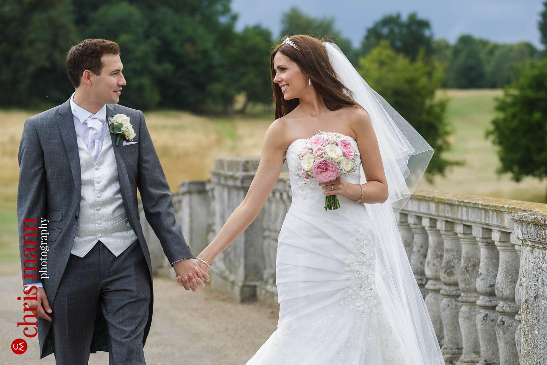 bride and groom at Brocket Hall Golf club