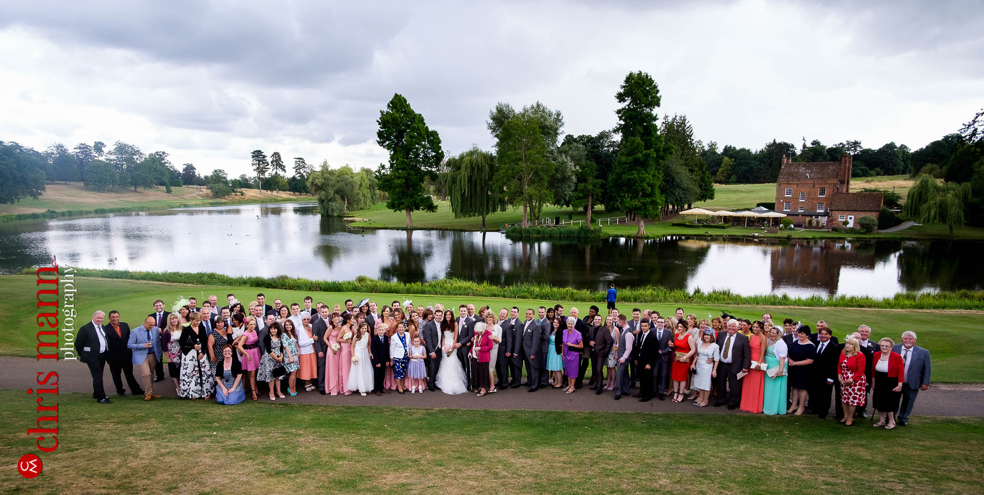 wedding group photo Brodwater Lake Brocket Hall golf club