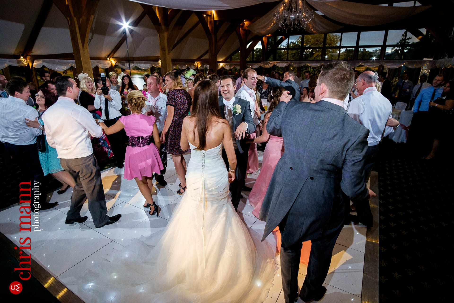 wedding guests dancing Brocket Hallgolf club oak room