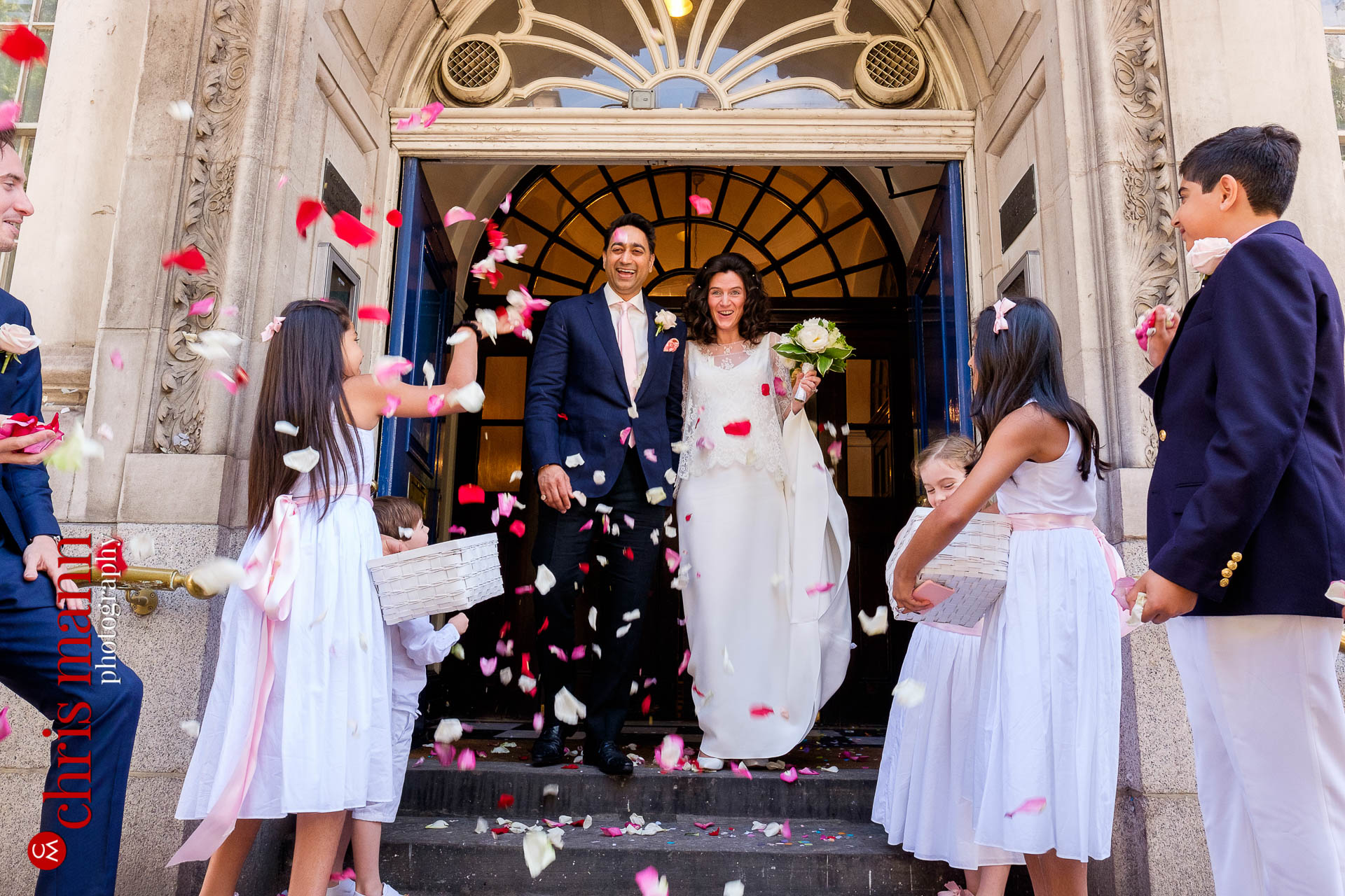confetti toss on the steps outside Chelsea Registry Office wedding