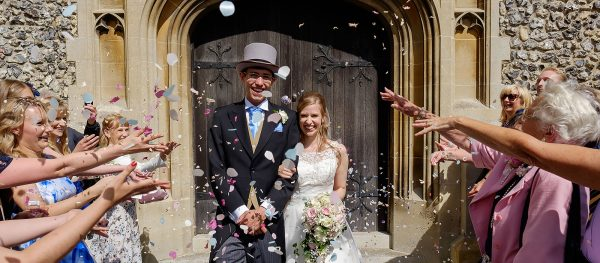 Leatherhead church wedding confetti toss