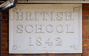 King's Chapel Amersham British Scool 1842 sign