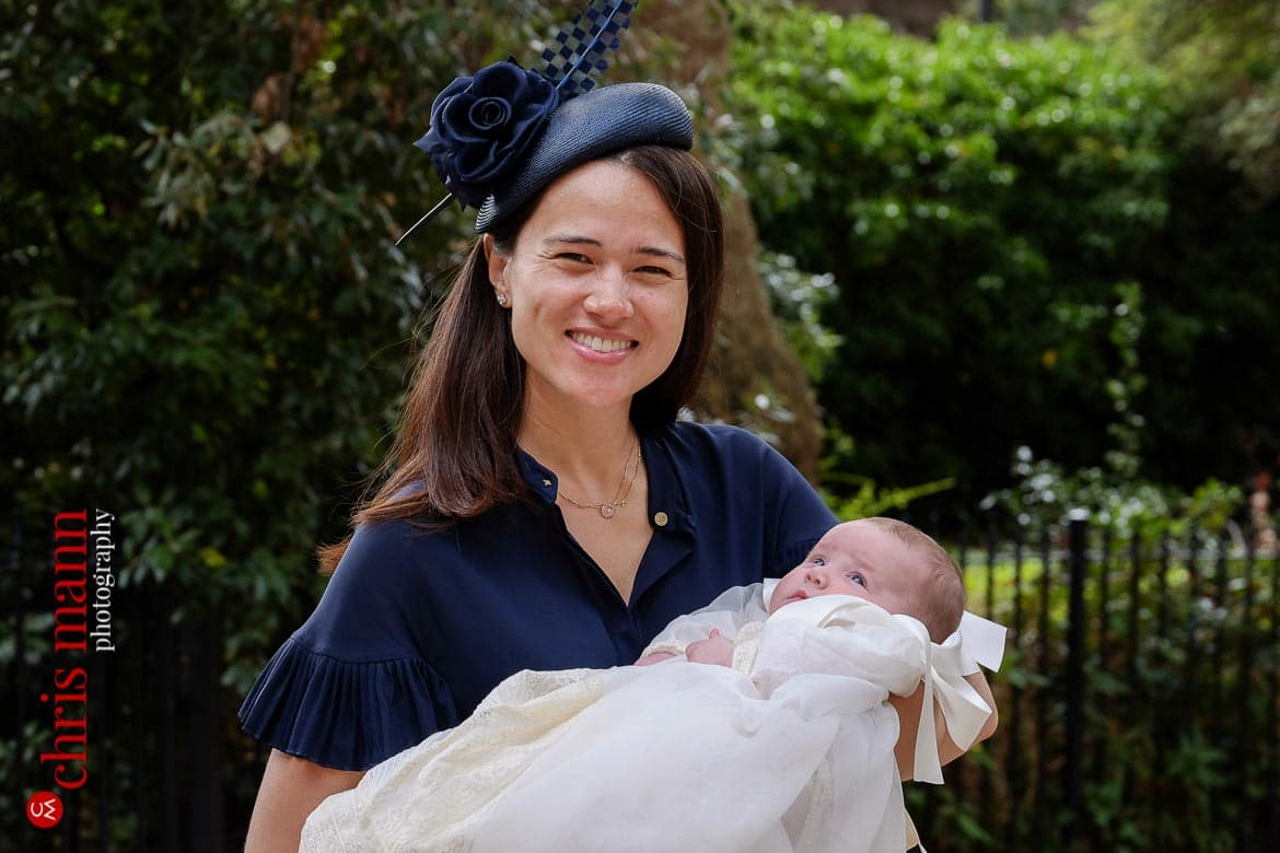 Brompton Oratory christening photos godmother with baby