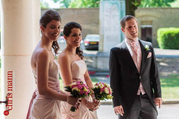 bridesmaids outside Royal Memorial Chapel Sandhurst