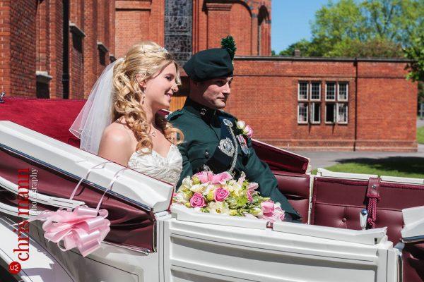 brdie and groom horse-drawn carriage Royal Memorial Chapel Sandhurst