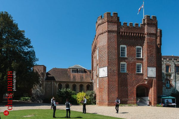 wedding reception sunny day Farnham Castle