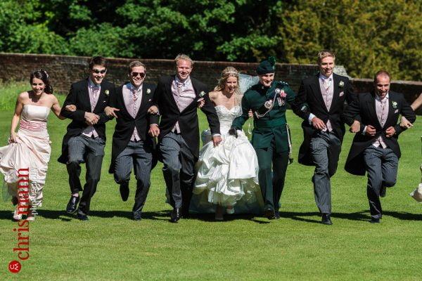 wedding party reception lawn Farnham Castle