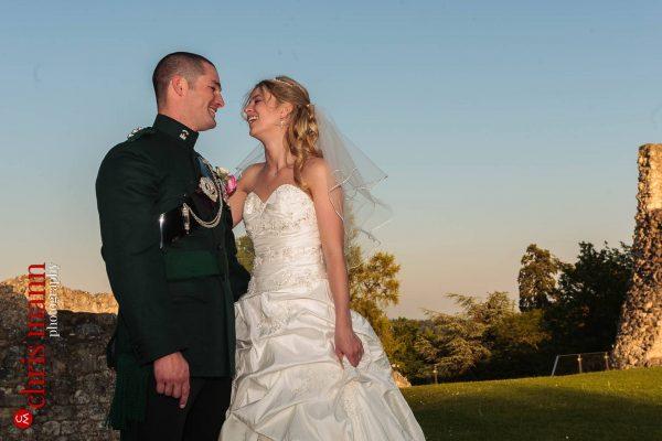 RMA Sandhurst Farnham Castle wedding bride and groom