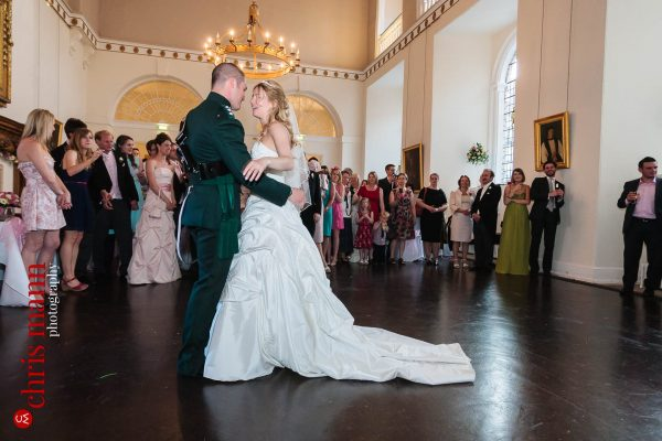 wedding first dance in the Great Hall Farnham Castle Surrey