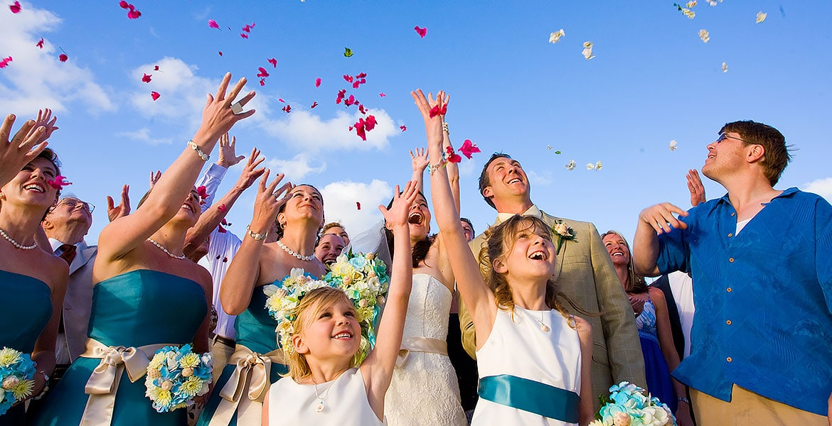 confetti toss destination wedding grace bay beach turks and caicos islands