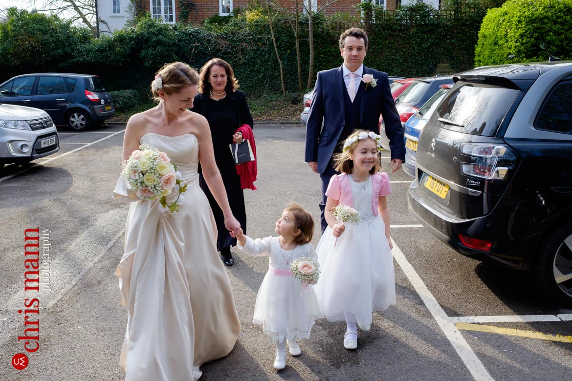wedding party arriving at Artington House Guildford register office