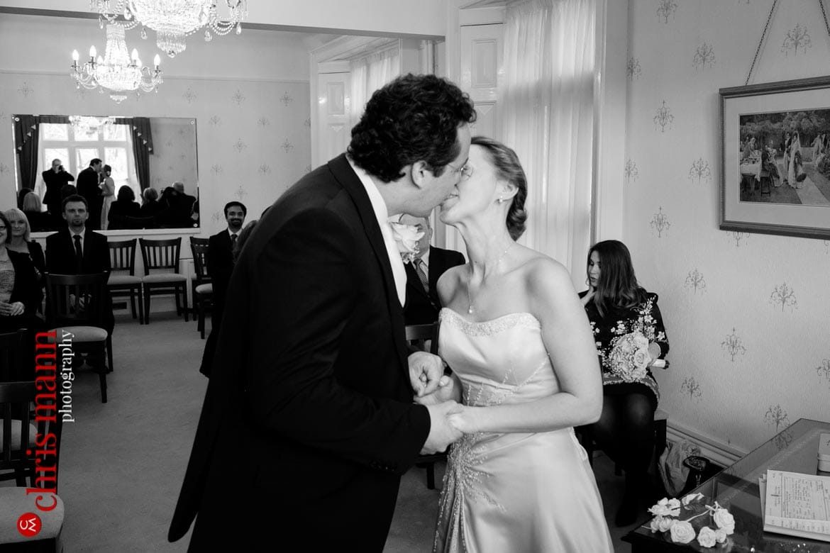 first kiss bride and groom Artington House Guildford register office