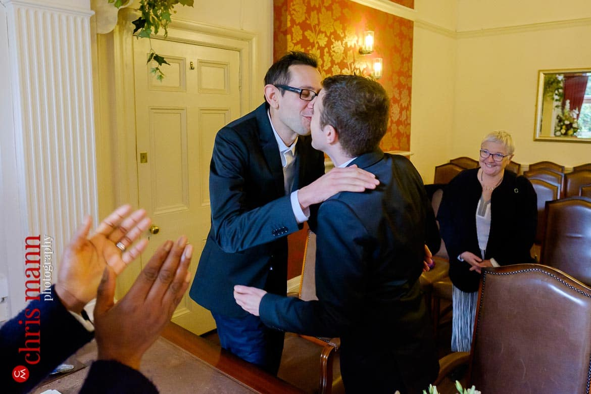 first kiss two grooms Southwark Register Office civil ceremony