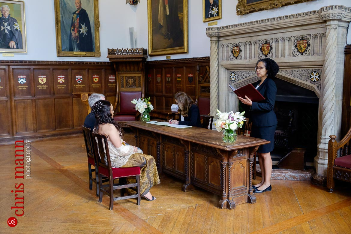 registrar officiates at Museum of the Order of St. John Wedding London