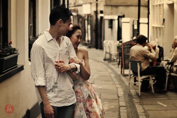 engagement shoot Asian couple walking Greenwich portrait photography Chris Mann