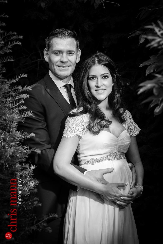 bride and groom portrait Weybridge Register Office gardens Surrey wedding black-and-white