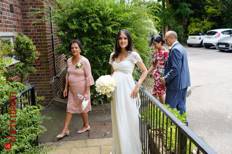bride arrives for Weybridge Register Office wedding