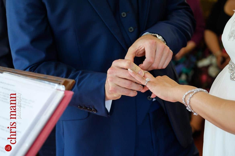 exchange of rings Weybridge Register Office wedding