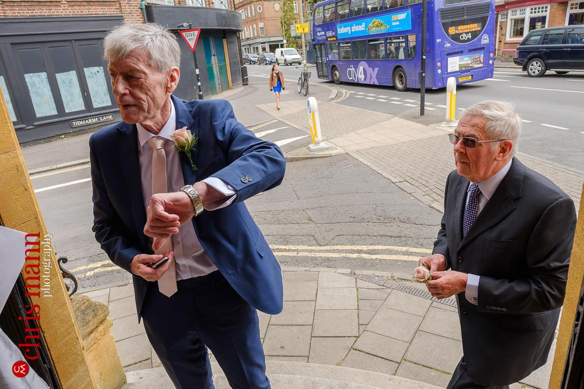 groom waits for Oxford Register Office Wedding
