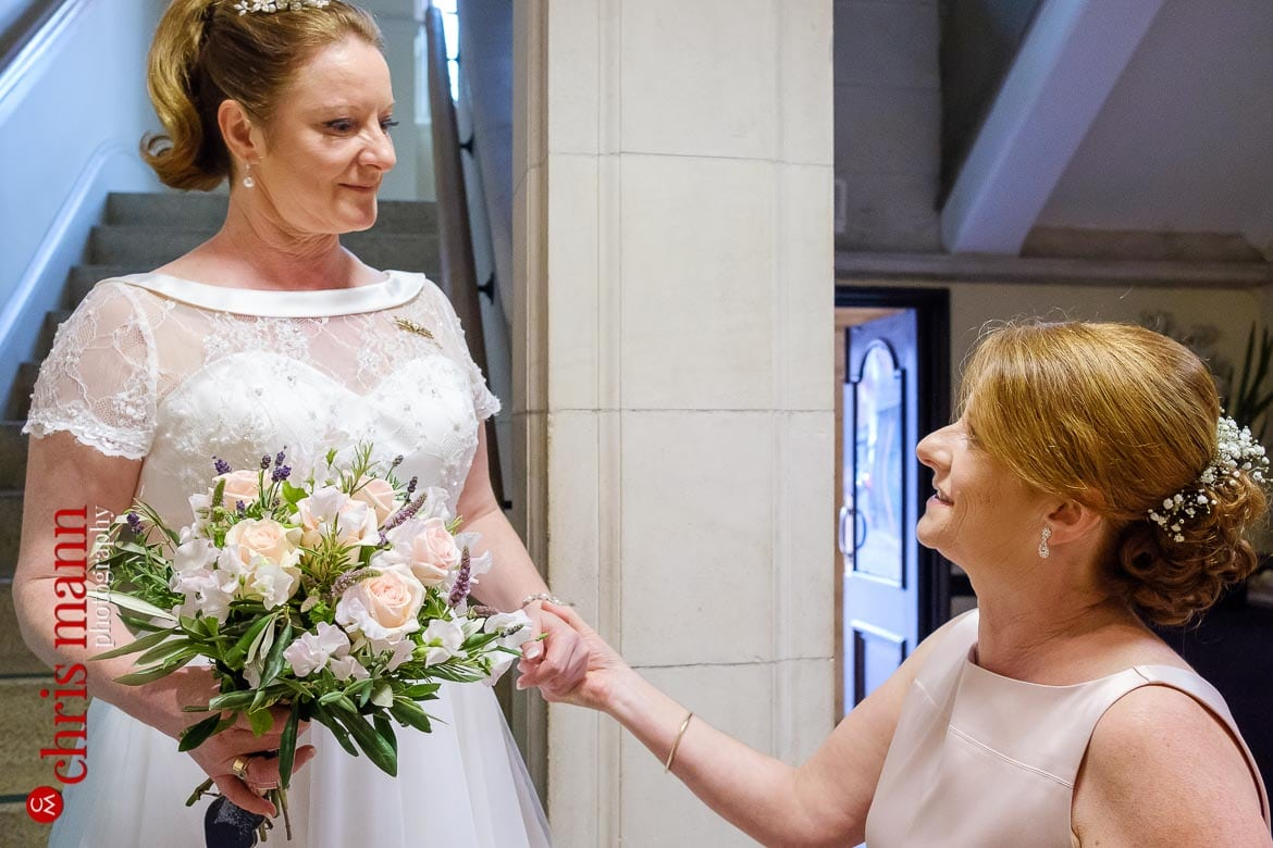 bride with bridesmaid at Oxford Register Office Wedding