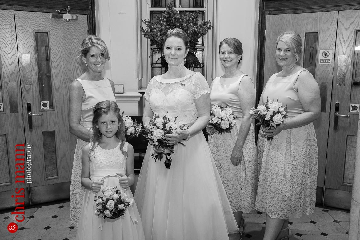 bride with mother and bridesmaids Oxford Register Office Wedding