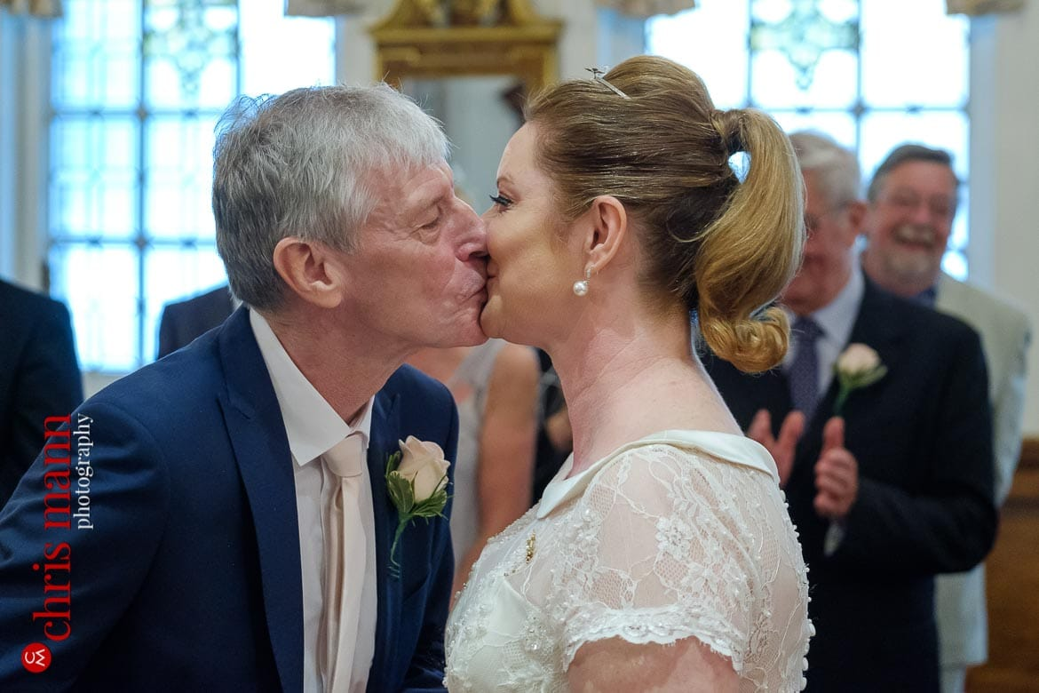 first kiss bride and groom at Oxford Register Office Wedding